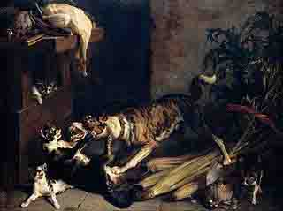 Painting of Dog Fighting Cat